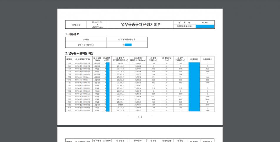 차량운행일지 리포트차량운행시 운행일지(PDF 및 엑셀)가 자동 생성됩니다.사용자별 주행거리와 업무 사용 비율을 자동으로 계산합니다.